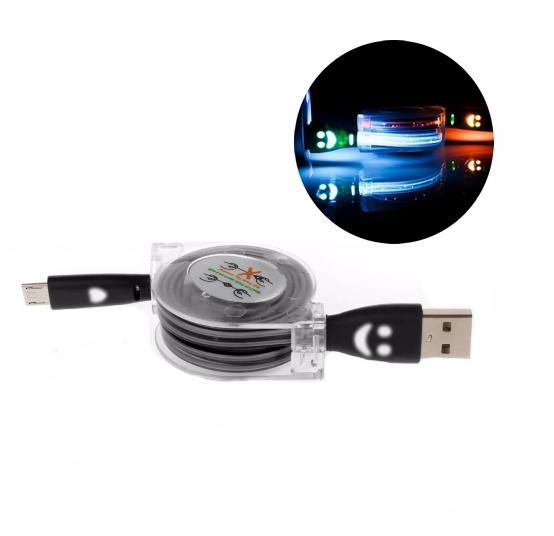 Sout� o nav�jec� USB kabel s LED sv�tlem - 1 m v �ern� barv� - www.postovnezdarma.cz